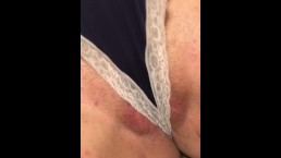 He blasts Cum on my pussy and cute new Panties.