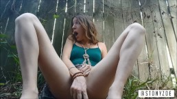 Risky Outside Orgasm with Vegetable