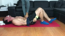 My slave is my yoga mat. SAVAGE TRAMPLE, JUMPING , STOMPING.