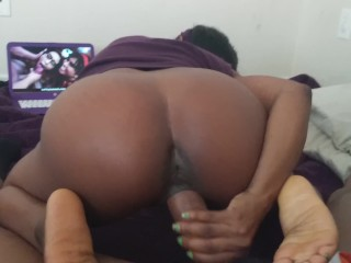 Black Daphne Watching Asian Porn with Black Fred