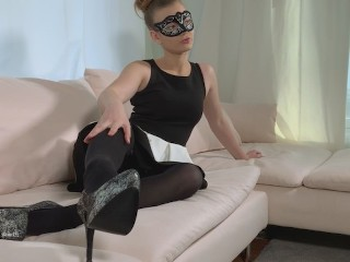 Masquerade on a sofa with my red vibrator inside my teen pussy