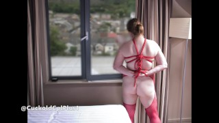 Hotel Window Sex for Wife in Bondage with Hung Guy