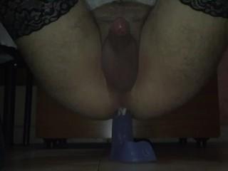 My first Sissygasm (Riding huge dildo)