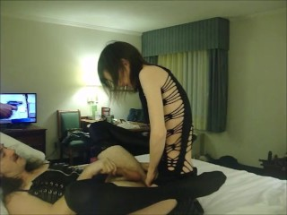 Alluring Goddess Pounds Crossdressed Hubby's Ass