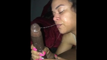 Cumming on my dick and she sucks it off