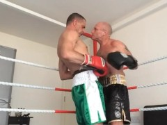 Close in Erotic strip Box, cock fight, gut punch, suck