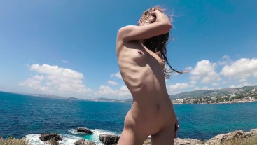 TRAVEL NUDE - Perfect body nudist girl dancing on Mallorca - Sasha Bikeyeva