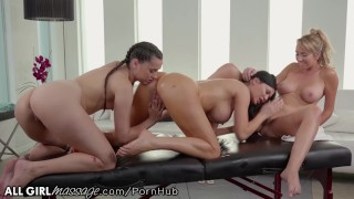 AllGirlMassage Stepmom & Teen Double Team MILF Jasmine Jae