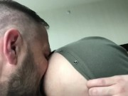 Cuddling and exposing his hairy hole