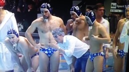 Italian Water Polo Player Grabs His Balls