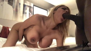 Big boob webcam model Amber fucks pornstar and get creampied