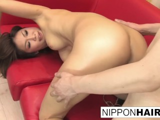 Hot Asian blows him and lets him shoot his load on her ass