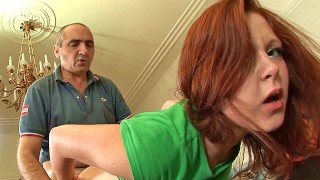 Older guy fucks fit younger redhead then creams her face