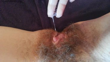 Big clit hairy pussy grool