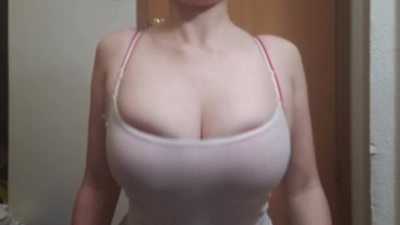 Dying to See My Nipples on My Huge Tits, But You Don't Get To!