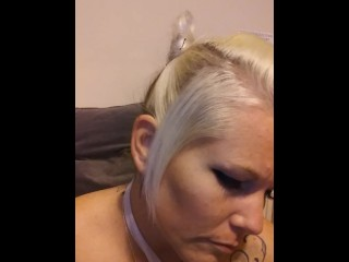 Hot blonde tattooed milf fucks herself with random food pt #1