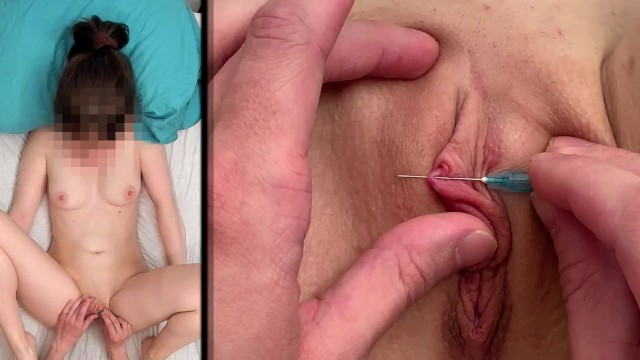 Extremely Painful Horizontal Clit Piercing / Needle Torture Punishment BDSM(緊縛)