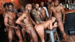 BBC Slut Candice Dare Survives Interracial Gangbang In The Bar