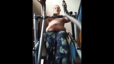 My workout topless and bald