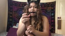 Curvy Asian teen fucks herself with dildo