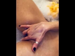 Deep fingering in the bath