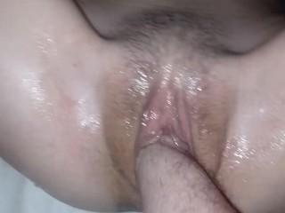 Enjoying her loose pussy.