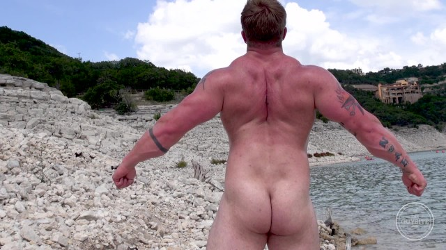 Outside naked gay guys Aaron bruiser first time naked on camera, outdoors and in public.