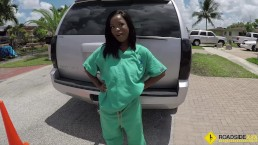Roadside - ebony chick fucks her mechanic so he will fix her car asap