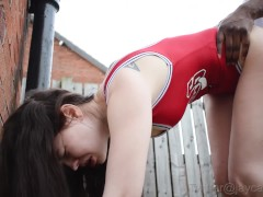 Petite teen drains her bbc outside- Amateur Interracial