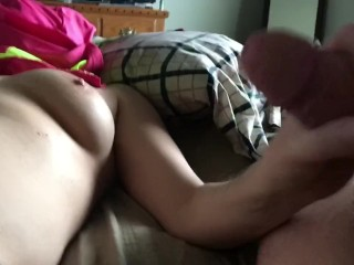 handjob leads to huge dripping pulsing cumshot on my panties