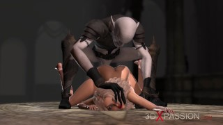 Demon Zepar fucks beautiful young blonde on the altar in the castle