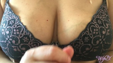 Wife gives hot titfuck in bra with big natural boobs | WifeX