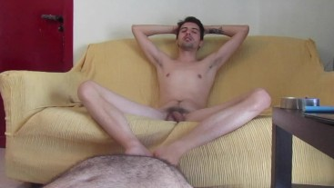 sofa relax for young master while the slave cares for him