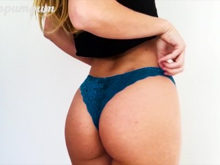 Preview 3 of Fit Teen Babe with Small Tits trying on Panties, Showing Pussy - Cocopumpum