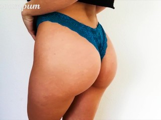 Preview 4 of Fit Teen Babe with Small Tits trying on Panties, Showing Pussy - Cocopumpum