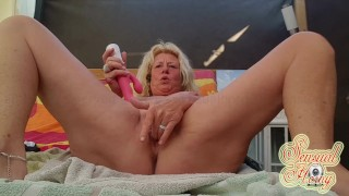 Horny outside, tight mature pussy squirt like a fountain!