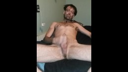 TRU Dogg strips then strokes big dick to a creamy load. Mature tattooed guy