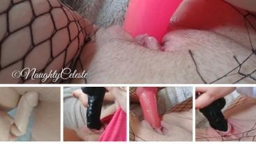 Masturbation with dildo compilation in close up