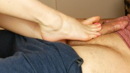 Soft Soles and Pink Nails Side View Footrub and Footjob