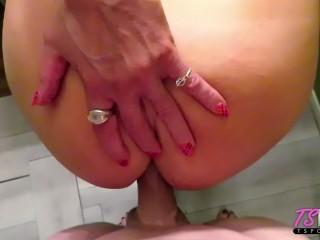 busty mature TS Robbi Racks gets fucked before her scene