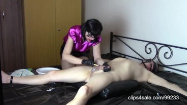 Tied up husband, shaving penis and balls in black latex gloves