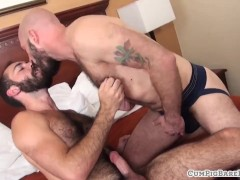 Hairy studs breeding in threesome scene