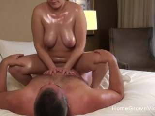 Thick girlfriend with big tits gets oiled up and fucked
