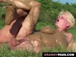 Granny Foursome Sex In The Mud