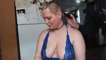 Shaved bald in lingerie