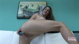 Casting Brunette Lotions Herself And Closeup Peeing Shot