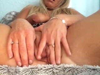 Blonde MILF showing off big pussy lips