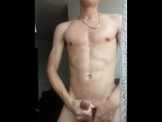 HANDSOME YOUNG GAY STANDING STROKE HIS COCK UNTIL CUM