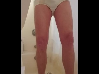 Pissing my panties and playing with my butt plug!