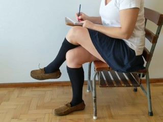 Cum on schoolgirl's socked foot during recess + shoefuck and sockjob